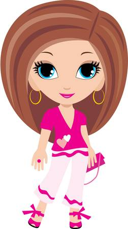 brown haired girl: Woman cartoon Illustration