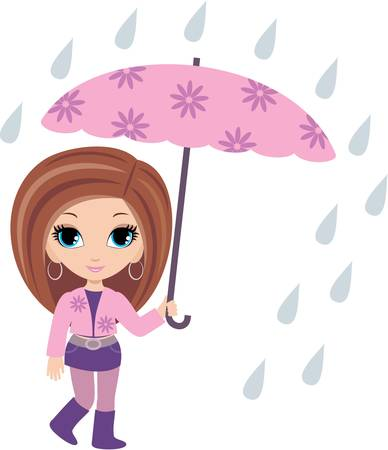 brown haired girl: woman cartoon with umbrella