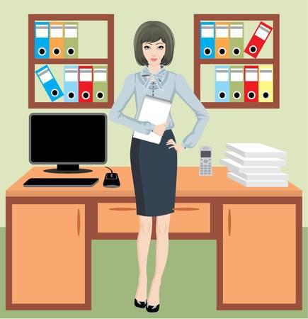 Businesswoman in office Vector
