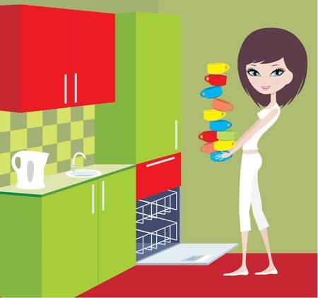 dish washing: Ragazza mette bicchieri in lavastoviglie Vettoriali