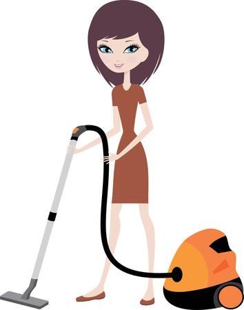 chores: Mooi meisje met stofzuiger Stock Illustratie