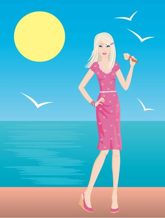 quay: Young woman eats ice-cream on quay