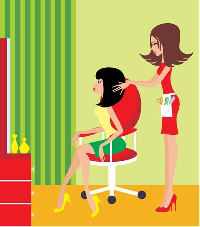 comb: Woman in a beauty salon