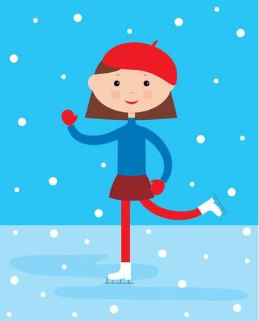 ice skates: Girl on a skating rink