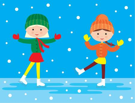 skater: Two girls on a skating rink Illustration