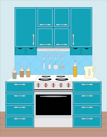 Kitchen furniture. Interior. Stock Vector - 11376257