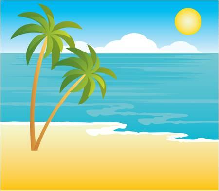 beaux paysages: Plage avec des palmiers Illustration
