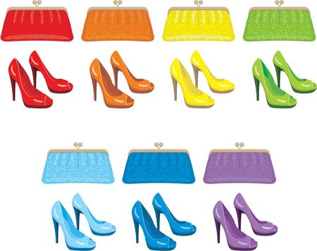 clutch: Female bag and shoes. Colors of a rainbow
