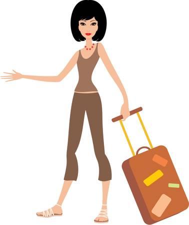 packing suitcase: Giovane donna con una valigia