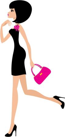 woman in a black dress on a white background