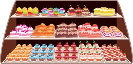 застекленный: Магазин сладостей Иллюстрация