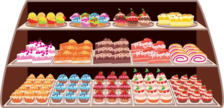 trozo de pastel: Tienda de dulces Vectores