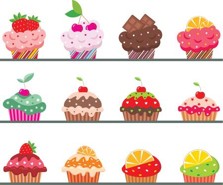 cupcake illustration: Cupcakes on a regiment