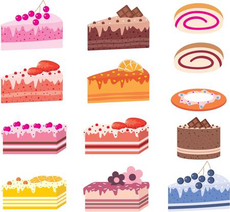 Cakes, pieces of pies, sweets Vector