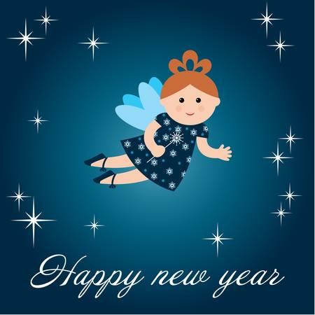New years card with fairy Vector
