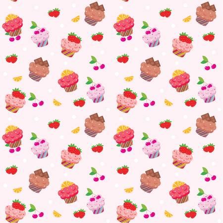 シームレスなカップケーキ パターン  イラスト・ベクター素材
