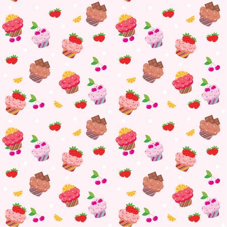 whipped cream: Seamless cupcake pattern Illustration
