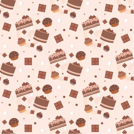 Seamless chocolate cakes pattern Stock Vector - 11656199