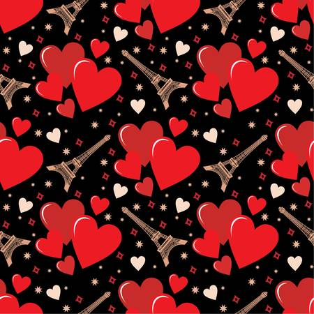 d'eiffel: Seamless hearts pattern
