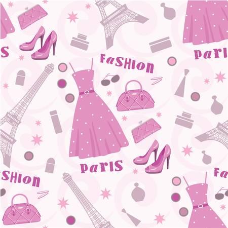 d'eiffel: Seamless fashion pattern Illustration