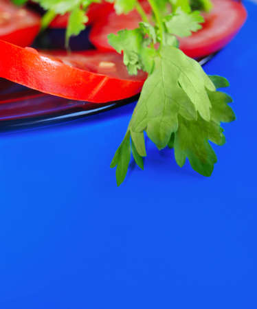 The cut tomatoes with greens04 Stock Photo - 11877290