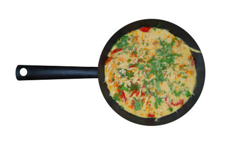 Omelette on a frying pan photo