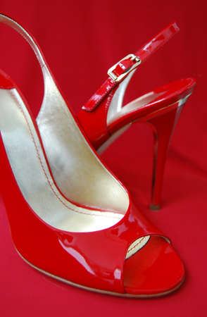 entice: Red womanish sandals