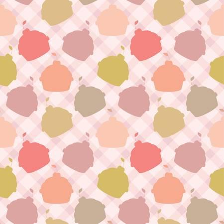 vanilla cupcake: Seamless cupcake pattern Illustration