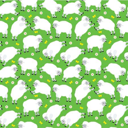 Seamless sheeps pattern Vector