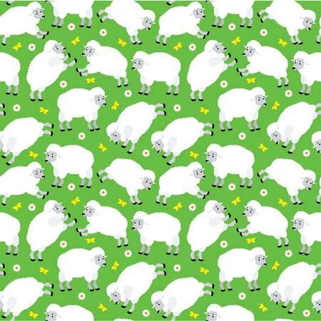 Seamless sheeps pattern Vector