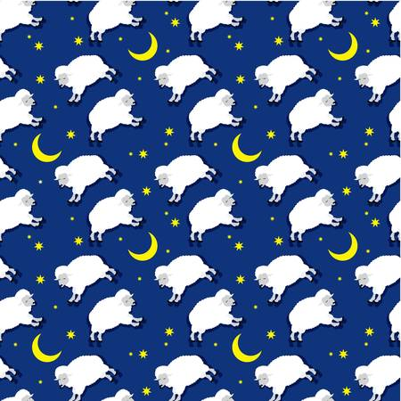 Seamless sleeping lambs pattern Vector