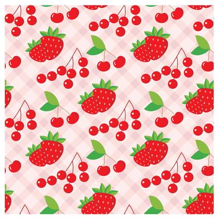 wild strawberry: Seamless fruit pattern.