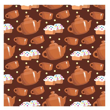 Seamless tea pattern Vector