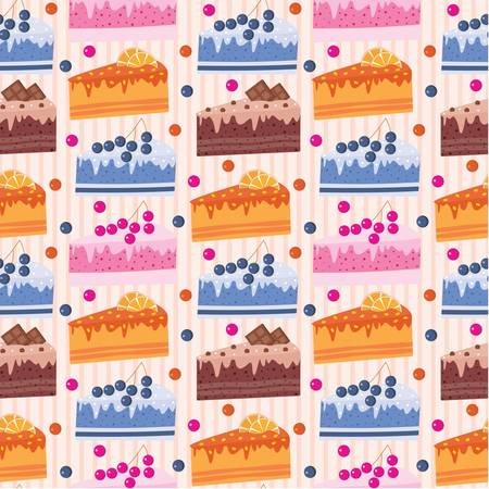 Seamless cake pattern Vector