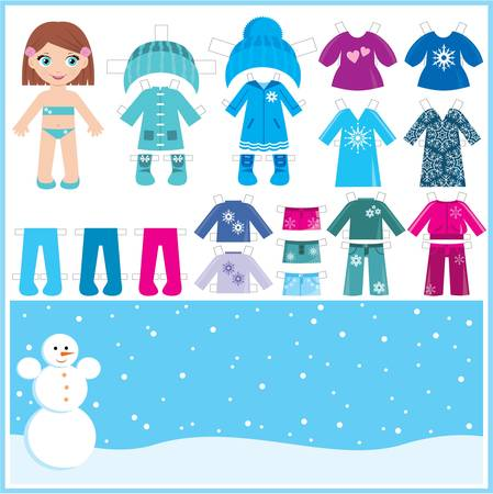 Paper doll with a set of winter clothes.