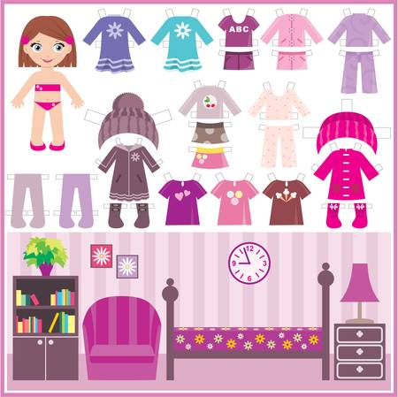 doll: Paper doll with a set of clothes and a room
