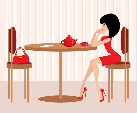 high chair: Mujer joven en el caf� Vectores