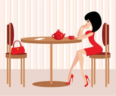 Young woman in cafe Stock Vector - 12044437