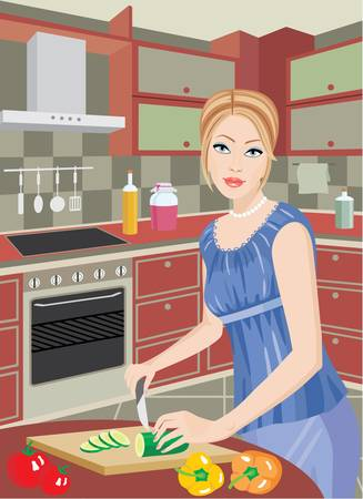 prepare: The young woman on kitchen cuts vegetables Illustration