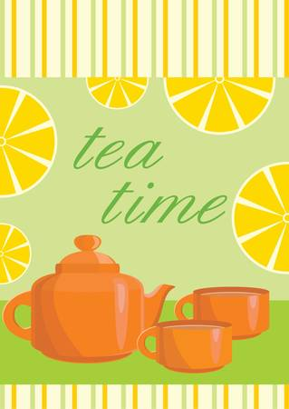 Card. Menu Tea service Vector