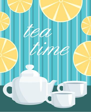 Card. Menu Tea service Vector