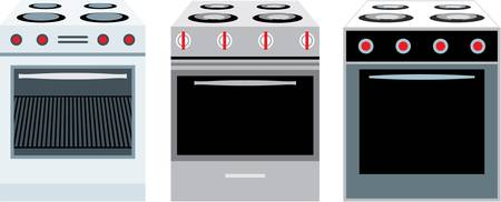 furnace: Cookers. three different kinds Illustration