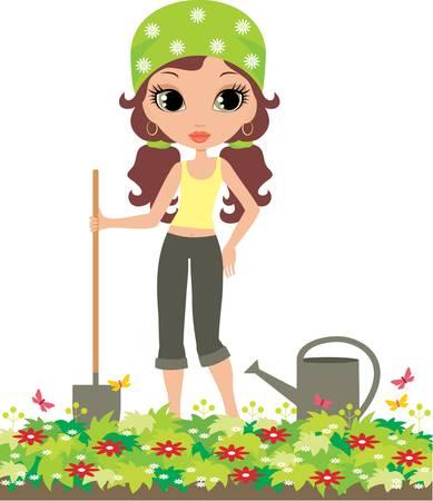 regando el jardin: Chica del jardinero sobre un fondo blanco Vectores