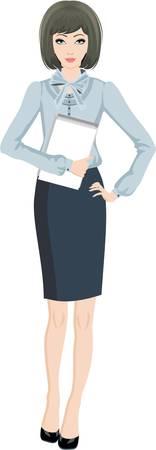 successful student: Donna d'affari. Sfondo bianco Vettoriali