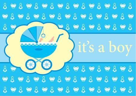 Baby boy arrival announcement card Иллюстрация