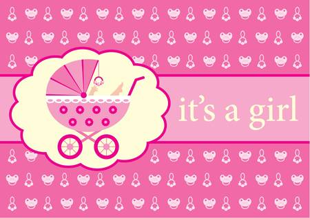 Baby girl arrival announcement card. Vector