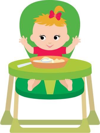 eats: Child eats. Illustration