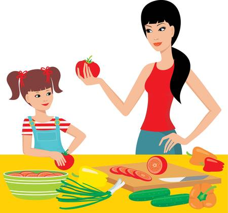 Mum learns the daughter to prepare. Vector