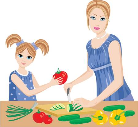 Daughter helps mum to prepare. Vector