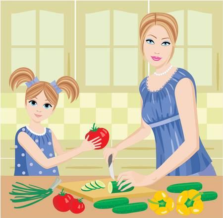 Daughter helps mum to prepare. Illustration